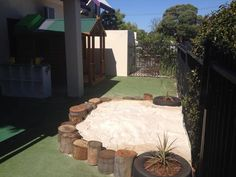 """Lovely sand area - from Nurtured by Nature - Play & Design ("""",) like an idea like this for out by the tree fort Backyard Play Spaces, Kids Play Spaces, Kids Play Area, Backyard For Kids, Children Play, Kids Yard, Kids Outdoor Play, Outdoor Play Areas, Outdoor Learning"""