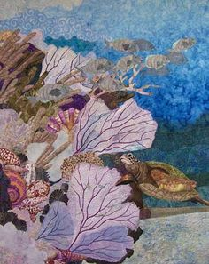 Porgies.  Art quilt depicting an under the sea coral reef by Eileen Williams