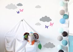 CLOUDS of butterflies walldecal stickers loony by LoonyBinWorkshop