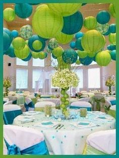 Royal blue and lime green wedding reception decor   Centerpieces ...