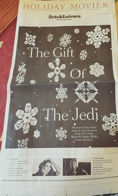 Star Wars Snowflakes, Paper Snowflakes, Holiday Movie, Beautiful Things, Stars, Frame, Diy, Gifts, Picture Frame