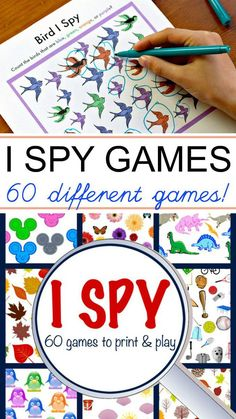 Printable I Spy games for kids make a great boredom buster for restaurants, waiting in line or when you just need to drink your coffee! Spy Games For Kids, I Spy Games, Board Games, Car Activities, Monster Activities, Toddler Activities, Boredom Busters For Kids, Preschool Printables, Software