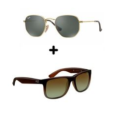 76669272077e1 02 Óculos De Sol - 1 Hexagonal E 1 Justin Na Promoção Verão