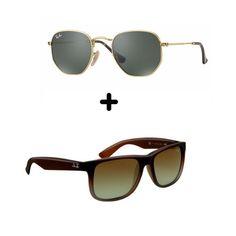 02 Óculos De Sol - 1 Hexagonal E 1 Justin Ray Ban Verão b68b797e94