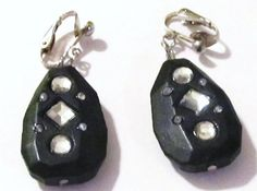 1 3/4 Silver Plated Clip Black Wooded Diamond Beaded by ADKOR, $2.99
