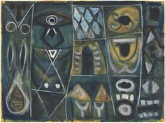 "Among Gottlieb's most important works are those he called ""Pictographs,"" spanning most of the 1940s and into the 1950s. These feature open-ended symbols loosely arranged in a grid with no clear hierarchy or narrative. Gottlieb encouraged viewers to free-associate as a way of releasing their imaginations and accessing their subconscious selves. Adolph Gottlieb, American, 1903 – 1974, Pictograph, 1946/1947, watercolor heightened with white and gold, Gift of Ruth Cole Kainen, 2006"
