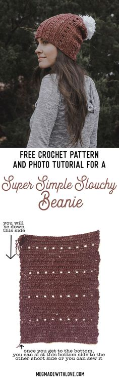 Free Crochet Pattern for a Simple and Slouchy Textured Beanie - Megmade with Love