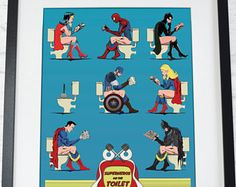 Superhero On Toilet Poster Comic Book Wall Art Print Home Décor, bathroom restroom loo humour