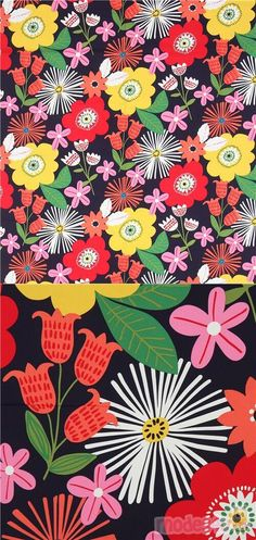 "navy blue heavy oxford cotton fabric with flowers in yellow, red, pink etc., Material: 100% cotton, Fabric Type: heavy oxford cotton fabric, Fabric Width: 114cm (45"") #Oxford #Flower #Leaf #Plants #USAFabrics"