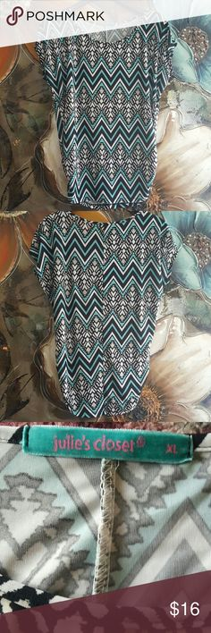 *JUST IN* Chevron Print top Beautiful and bright Chevron top.  cap sleeves. 100% polyester. Singes at the side (pic 4) Boutique  Tops