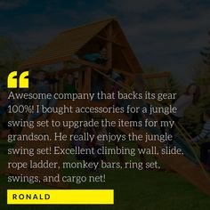 At Eastern Jungle Gym it's our mission to give you the tools to make your child's dreams come true! Swing Set Hardware, Rope Ladder, Cargo Net, Jungle Gym, Climbing Wall, Child, Dreams, Tools, Boys