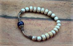RESERVED, Lapis Gemstone, Nepal, Cream White Magnesite, Tibetan Silver, Ethnic, Stretch Bracelet