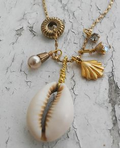 Ocean Simple and Sweet Shell Necklace Beach Wear Hanging Charms Gold tone jewelry necklace by ObscuredOdditiess on Etsy