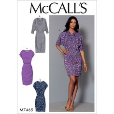 McCall's 7465 Misses' Batwing or Dolman Sleeve Dresses sewing pattern Easy Sewing Patterns, Mccalls Sewing Patterns, Clothing Patterns, Dress Patterns, Pdf Patterns, Pattern Ideas, Design Patterns, Batwing Dress, Jersey Knit Dress