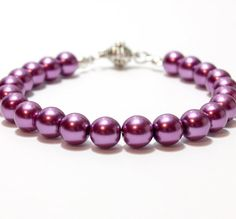 Dark purple cat or dog collar with magnetic quick release clasp #pearlcatcollar