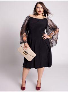 moda plus size ou curvy-sheer overlay idea Looks Plus Size, Curvy Plus Size, Plus Size Women, Xl Mode, Mode Plus, Curvy Girl Fashion, Plus Size Fashion, Modest Fashion, Fashion Outfits