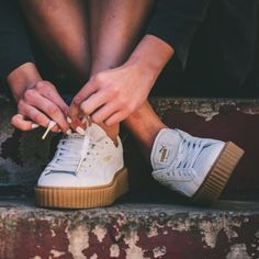 """PUMA by Rihanna Fenty """"Creeper Sneakers Suede """"star white oatmeal"""" creepers. c7a6c1228"""