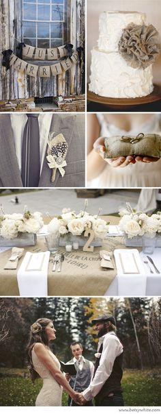 Gray, burlap and navy