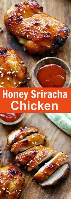 Honey Sriracha Chicken – crazy delicious chicken with honey sriracha marinade. Make it on a skillet, bake or grill for dinner tonight. I Love Food, Good Food, Yummy Food, Honey Sriracha Chicken, Recipes With Sriracha Sauce, Siracha Chicken Recipes, Recipe Chicken, Cooking Recipes, Healthy Recipes