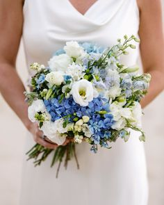 bridal bouquets, blue and white wedding color palettes, spring wedding flowers, wedding decorations Wedding Flower Guide, Spring Wedding Flowers, Bridal Flowers, Flower Bouquet Wedding, Floral Wedding, Summer Wedding, Wedding Colors, Wedding Blue, Wedding Ideas