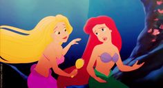 Ariel with Rapunzel as a mermaid. Omg this is amazingly done