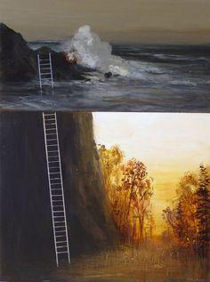 Jimmy Miranda - Autumn Ladder-Original Painting-. $275.00, via Etsy.