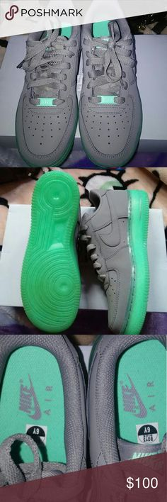 Glow Air Force 1's COOL GREY AND GLOW GREEN LIGHT THEM UP AND THEY GLOW IN THE DARK???????? Nike Shoes Athletic Shoes