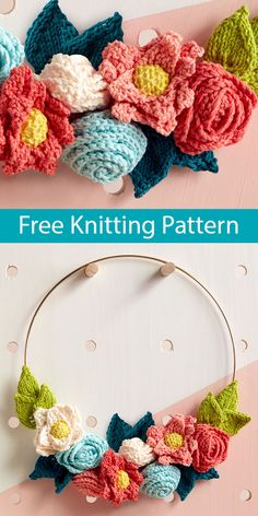 Free Knitting Pattern for Easy In Bloom Wreath - Knit up this cheerful wreath to add a fun pop of color to your home., to weddings, and more Create a full bouquet in no time of gorgeous flowers by… Knitted Flowers Free, Crochet Flower Patterns, Knitting Patterns Free, Crochet Flowers, Free Knitting, Free Pattern, Crochet Stars, Crochet Squares Afghan, Granny Squares