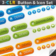 3-Color Button & Icon Set
