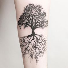 """129 Likes, 5 Comments - Zoe Emily (@tattoos_by_zoe_emily) on Instagram: """"Oak tree and roots #tattoo #newtattoo #tree #treetattoo #silhouette #silhouettetattoo #blackwork…"""""""