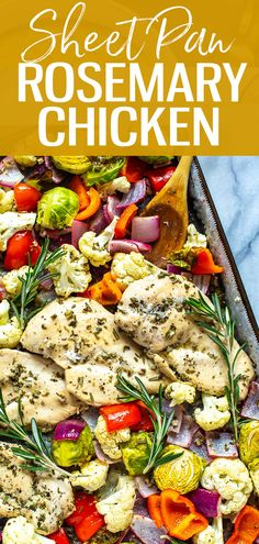Sheet Pan Rosemary Chicken - The Girl on Bloor This Sheet Pan Rosemary Chicken is a healthy, low-carb chicken meal prep idea that is perfect as a dinner or to pack up as weekly lunch bowls! - The Girl on Bloor 30 Minute Dinners, Rosemary Chicken, Chicken Meal Prep, Healthy Dinner Recipes, Simple Recipes, Quick Recipes, Healthy Meals, Delicious Recipes, Free Recipes