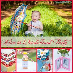 Beautiful pictures of a colorful party with clear top tent for unpredictable weather. Simply adorable first birthday ideas. Gotta love Alice In Wonderland! Budget Beautiful DIY: First Bithday Party Wonderland Style Part 1