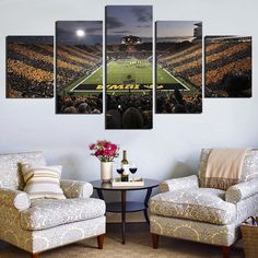 Iowa Hawkeyes Football Sport Team Wall Art Painting Print on Canvas for Living Room Decor 5PCS/Set (Frameless)