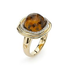 """K di Kuore - Square Citrine Hula Hoop Ring 