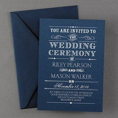 Announcing - Shimmer Wedding Invitation - Navy by The Office Gal Carlson Craft This contemporary invitation is shown with a rustic design.