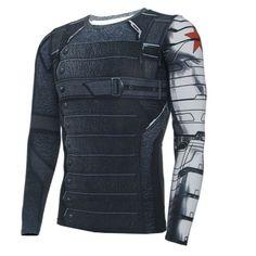 $6.5 - Captain America 3 Winter Soldier Bucky Barnes Short Long Sleeves 3D T-Shirts #ebay #Fashion