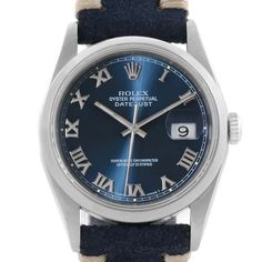 Rolex Datejust Steel Blue Roman Dial Leather Strap Mens Watch 16200