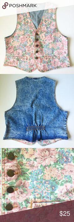 Vintage Denim Vest Floral print & acid wash • 2 front pockets • button up • stretchy part on back • accepting reasonable offers! Vintage Jackets & Coats Vests