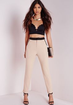 Missguided - Contrast Waistband Cigarette Trousers Camel