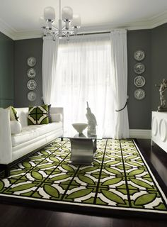 White Furniture Gray Walls Geometric Green Rug And Pillows Good Colors