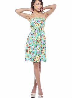 Turquoise Floral Print Strapless Minidress,  Dress, summer dress  floral print  strapless  comfortable, Casual