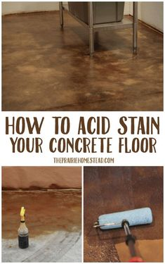stained concrete floors How to Acid Stain Concrete - flooring Diy Concrete Stain, Acid Stained Concrete Floors, Finished Concrete Floors, Painted Concrete Floors, Concrete Floor Paint, Acid Stained Concrete Patio, Concrete Floors In House, Stencil Concrete, Concrete Porch