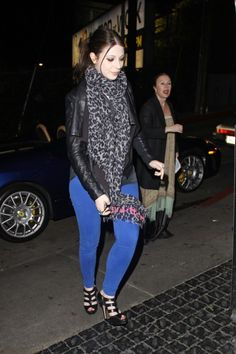 Michelle Trachtenberg enjoys a night out at the Chateau Marmont in West Hollywood wearing her Super Skinny Ankles in Cobalt.