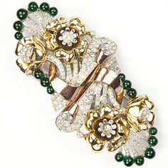 Coro Pave Emerald Cabochons and Two Colour Gold Flowers Deco Dress Clip Duette