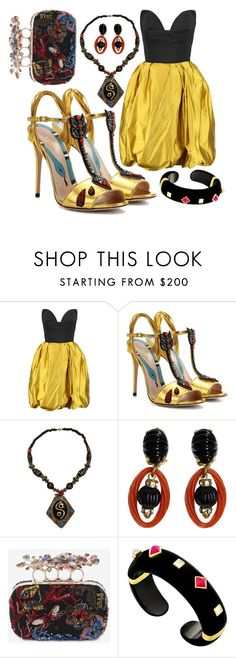 """""""Black & Gold"""" by sachi-grl ❤ liked on Polyvore featuring Oscar de la Renta, Gucci, Christian Dior and Alexander McQueen"""