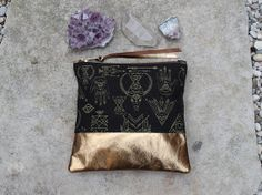 Desert Witch Metallic Leather Pouch by PrintsandNeedles on Etsy, $32.00