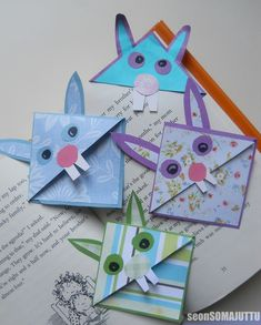 Se on SOMA juttu: Askarrellaan yhdessä: Pupu-kirjanmerkki Easter Crafts, Crafts For Kids, Arts And Crafts, Corner Bookmarks, Origami, Teaching, Christmas Ornaments, Holiday Decor, Children