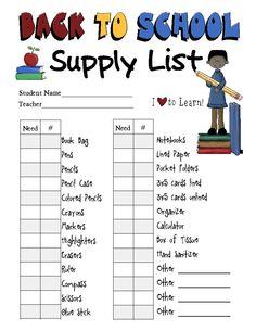 School Supply List Blank  Homeschool Inspiration