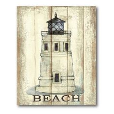 Lighthouse Beach I Canvas Wall Art - 12W x 18H in. #shabbycottage