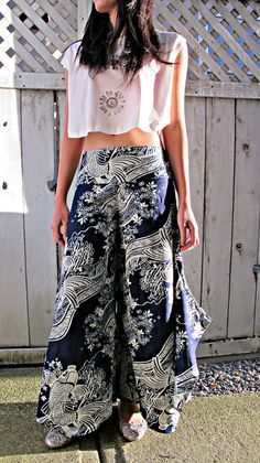 New Indigo Wave Sakura Koi Fish Wide Leg Pants by Siamurai on Etsy #leggings #trousers #comfypants